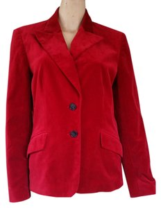 Kasper Velvet Cotton Blend Jacket Red Blazer
