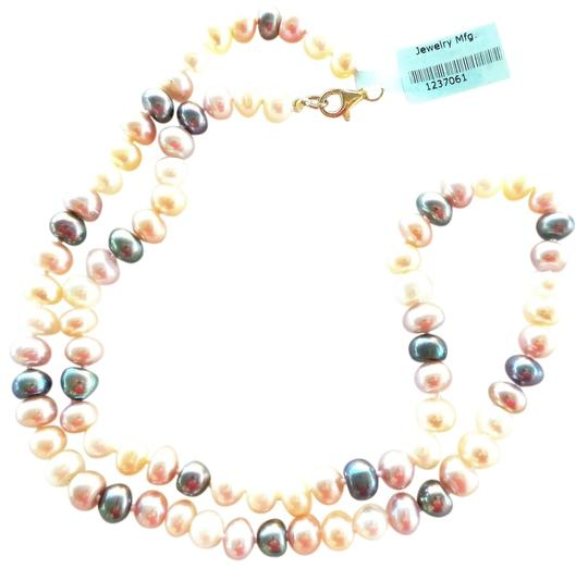 Other Elegant Soft Pink, Peach, Cream, and Black Freshwater Pearl Necklace