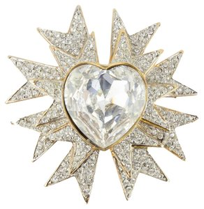 Kenneth Jay Lane KJL KENNETH J LANE Sparkling Ice Star Burst Heart Brooch Pin