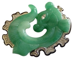 Kenneth Jay Lane KJL Kenneth Jay Lane Faux Jade and Rhinestone Fish Dragon Brooch Pin