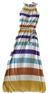 Design History short dress White with mustard, tan, blue, & turquoise on Tradesy