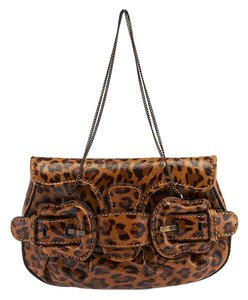 Fendi Patent Leopard Brown Clutch