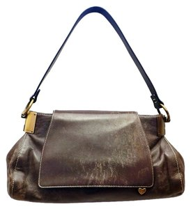 Escada New Distressed Leather Flap Heart Brass Shoulder Bag