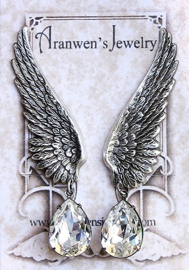 Silver/Silver Swarovski Crystal Wing Earrings