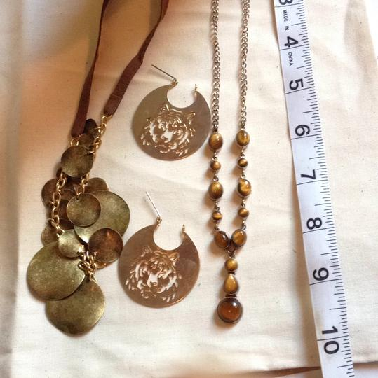 Target 2 Brown Gold Tone Necklaces And 1 Earring