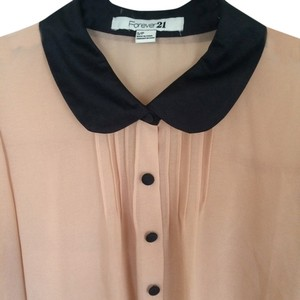 Forever 21 21 Sheer Blouse Sheer Blouse Peter Pan Collar Button Down Shirt