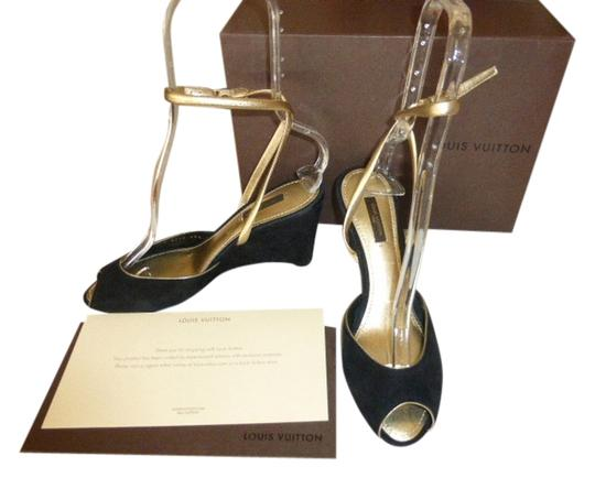 Louis Vuitton BLACK SUEDE & GOLD PATENT LEATHER Wedges