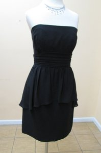 Alfred Angelo Black Chiffon 7259 Modern Bridesmaid/Mob Dress Size 6 (S)