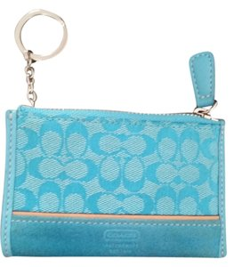 Coach Id Keychain Coin Leather And Fabric Key Chain Coin Wristlet in Teal blue, light blue