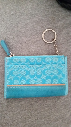 Coach Id Keychain Coin Purse Leather And Fabric Key Chain Coin Purse Wristlet in Teal blue, light blue