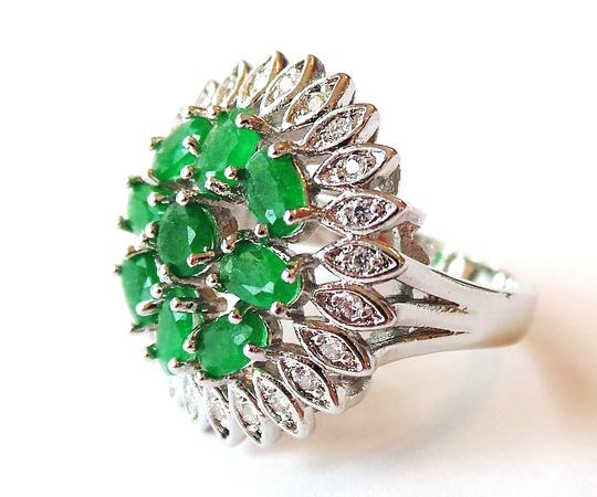 Other Natural Genuine Columbian Green Emerald Flower 925 Sterling Silver RIng 7