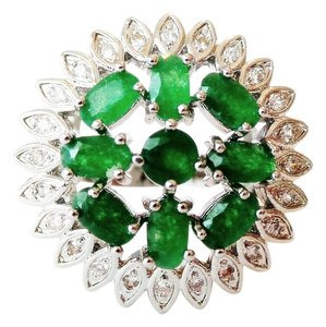 Other Emerald 925 Sterling Silver Flower Ring 9