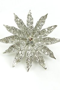 Giavan Silver (Rhodium Plated) Starburst Brooch/Pin