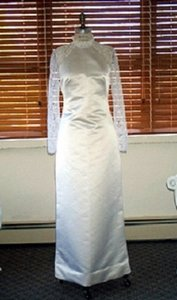 Edward Cromarty Art Design Studio White Silk with French Lace Damask Rose Formal Wedding Dress Size 8 (M)