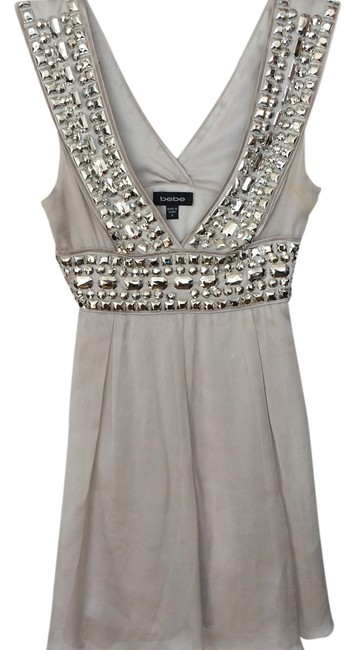 bebe Grey Silver Beads Cocktail Flow Low Drop V-neck Gold Silver Beads Gold Beads Fun Dress