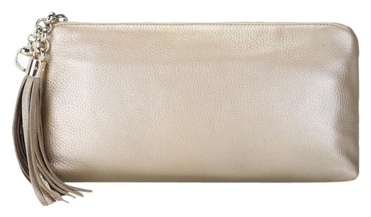 Gucci Evening Night Out Leather Metallic Gold Clutch