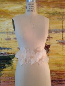 Light Ivory Sash With Champagne Flowers Size 6