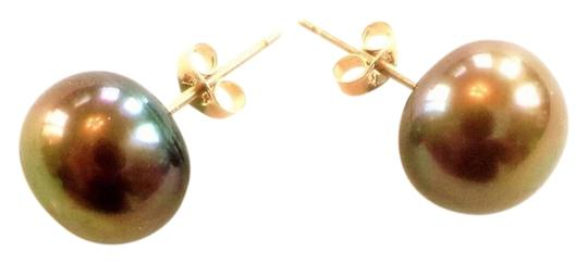 Other Lovely 8mm Chocolate Brown 14k Yellow Gold Pearl Earrings
