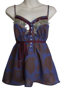 Velvet by Graham & Spencer Boho Bohemian Festival Top purple, brown, silver