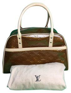 Louis Vuitton Large Boston Vernis Bowling Monogram Satchel in Bronze