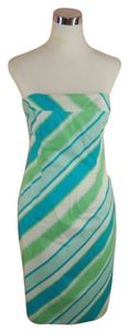 Shoshanna short dress Blue Strapless Striped Bias on Tradesy