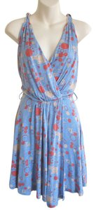 Modcloth short dress blue Faux Wrap Summer Beach Drape on Tradesy