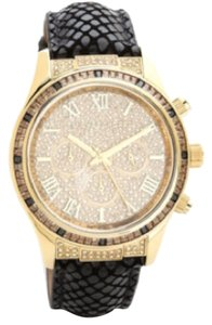 Michael Kors Goldtone Chronograph Python-embossed Strap Watch