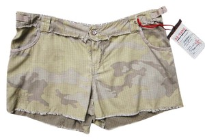 Da-Nang Camoflauge Cargo Silk Blend Soft Indo-chine Army Cut Off Shorts beige