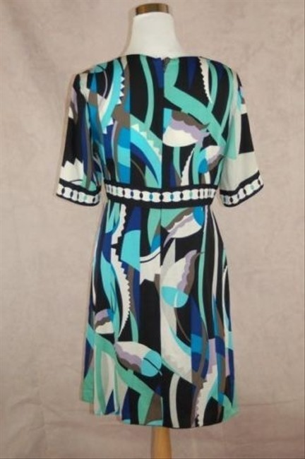 Elie Tahari short dress Blue Silk Turquoise Short Sleeve V-neck on Tradesy