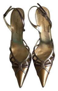 Dolce&Gabbana Leather Slingback Gold and Bronze Pumps