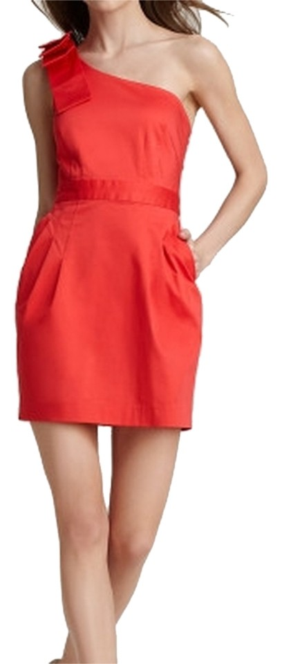 23348b9c2ae French Connection Reddish Orange One-shoulder Wizard Bow Above Knee ...