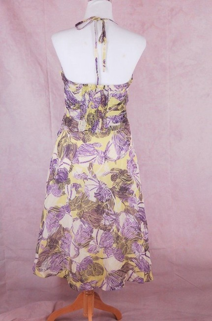 Anthropologie short dress Purple Halter Lime Green Rayon on Tradesy