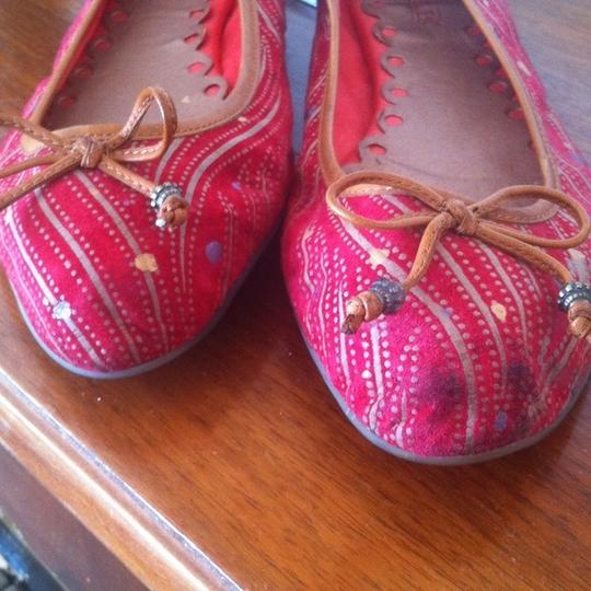 Anthropologie Seychelles Suede Leather Red, Multi Flats