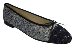 Chanel Classic Ballet Silver Flats