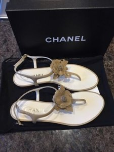 Chanel 15 Flower Flat Beige Sandals