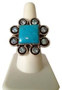 Other Embellished by Leecia Blue Topaz & Turquoise Ring, Size 8.5