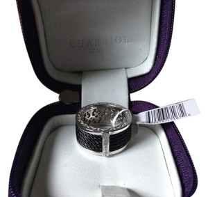 Charriol Charriol 18kt white gold and black stainless steel band ring