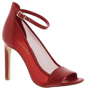 BCBGeneration Bcbg Hees Stiletto Open Toe Ankle Strap Mesh See Through Sheer Dress Sexy Moder Cool Chic Elegant Fashion Designer Style Red Pumps