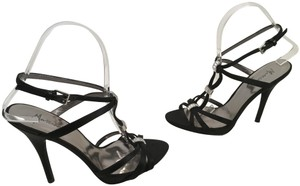 Marciano Stilettos Glass Leather Soles Leather Black satin inc heels strappy with clear stones joining straps Sandals