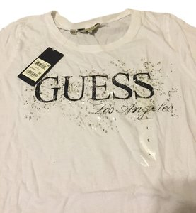 Guess T Shirt White with Black Letters