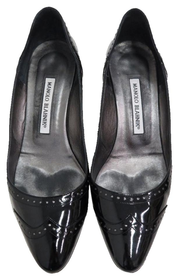 ca9ac29f08 Manolo Blahnik Spectator Wingtip Stiletto Black Patent Leather Pumps Image  0 ...