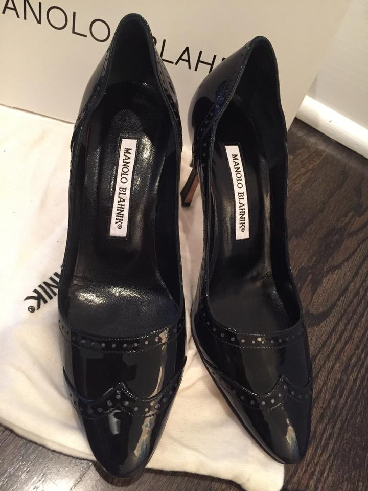 487b614d9e Manolo Blahnik Spectator Wingtip Stiletto Black Patent Leather Pumps Image  9. 12345678910