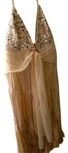 BCBGMAXAZRIA Gold Sequin Ivory Champagne Silk Dress