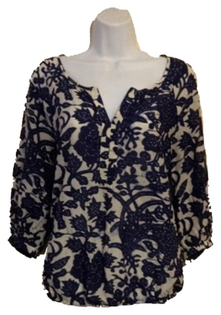 Ann Taylor LOFT Top Ivory with Navy Blue Floral Print