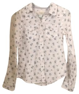 Burlington Button Down Shirt White with blue flowers