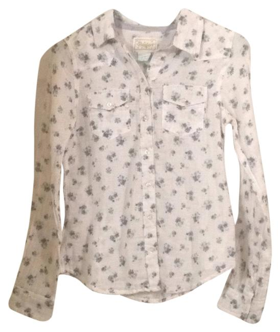 Item - White with Blue Flowers Button-down Top Size 4 (S)