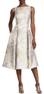 Adrianna Papell Floral Tea Length Sleeveless Dress