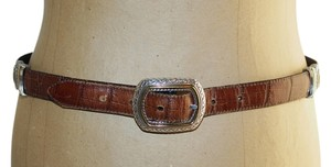 Brighton Black/Brown Moc Croc Leather Silver Accents Reversible Belt