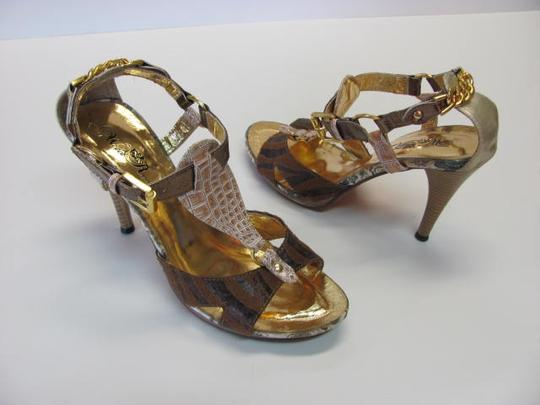 Other Very Condition Size 9.00 Animal Designs BROWN, BRONZE, GOLD, NEUTRAL Sandals