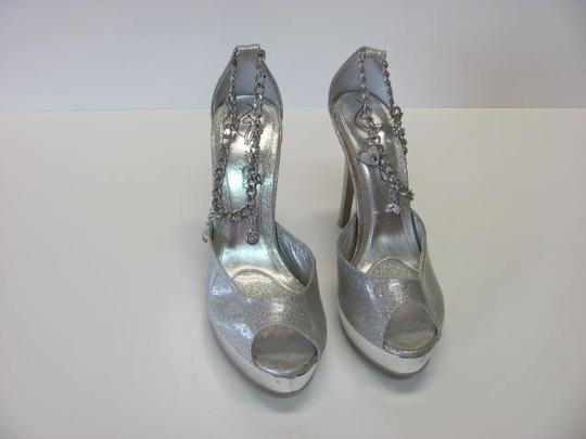 Baby Phat Good Condition Size 7.50 Chain And Charms Silver Platforms